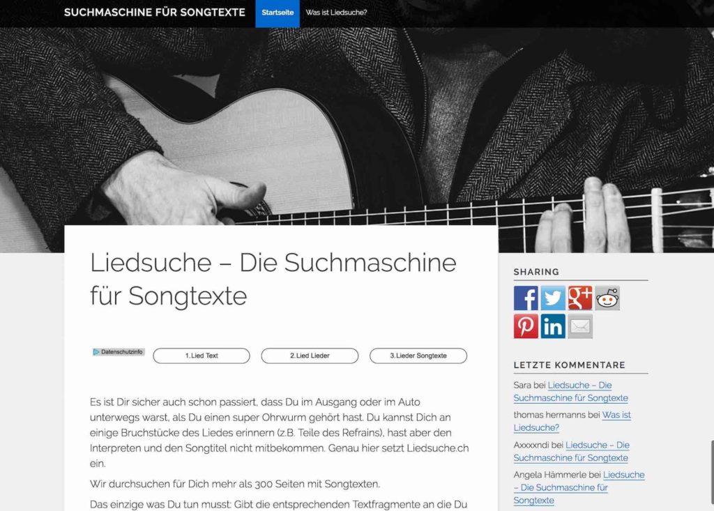 Suchmaschine für Songtexte