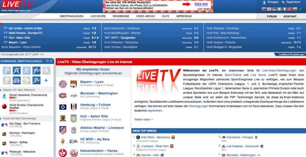 Kostenlos Live Sport Fernsehen online ohne Registration