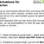 Micro SIM schneiden – Micro SIM Schablone für das iPad und iPhone 4 – von MacNotes.de