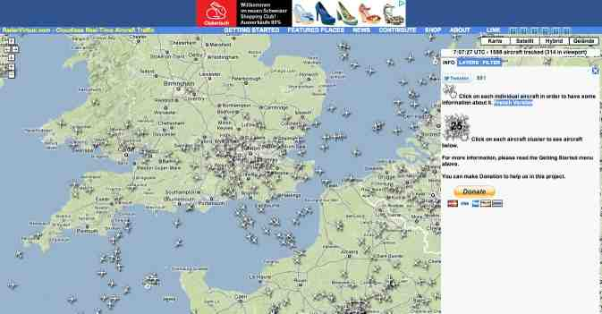 Flighttracker online: RadarVirtuel.com