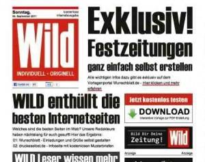 zeitung titelblatt vorlage festzeitung geburtstagszeitung hochzeitszeitung mit wild. Black Bedroom Furniture Sets. Home Design Ideas