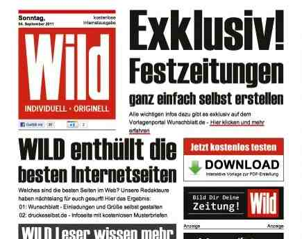 zeitung titelblatt vorlage festzeitung geburtstagszeitung hochzeitszeitung mit wild. Black Bedroom Furniture Sets. Home Design Ideas