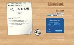 IP Adresse herausfinden - online mit ipnotebook.net