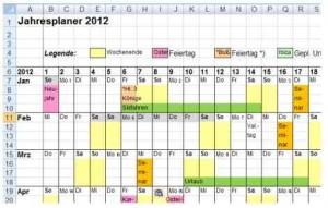 Jahreskalender jahresplaner excel vorlage 2012 2013 2014 kostenlos