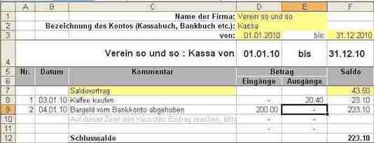 Kassenbuch Excel Vorlage Kostenlos Mit Vereinsbuchhaltungch