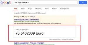 Voilà - Google gibt den aktuellen Umrechnungskurs aus.