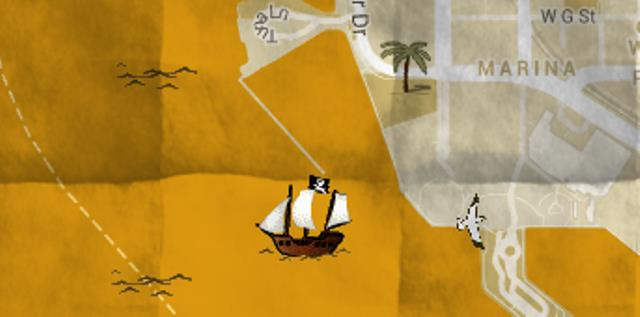 Piraten Schatzkarte aus Google Mapas