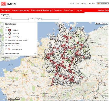 Zugradar Deutsche Bahn