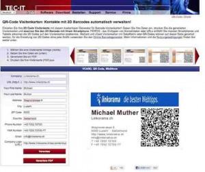 Mit dem kostenlosen Webapp von Tec-IT erstellen Sie tolle Visitenkarten im Handumdrehen kostenlos.