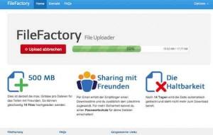 Im Internet finden sich viele Dienst, um grosse Dateien zu versenden. Filefactory.ch ist so ein Webapp, wobei Filefactory durch ein sehr einfaches Bennutzerkonzept überzeugt.