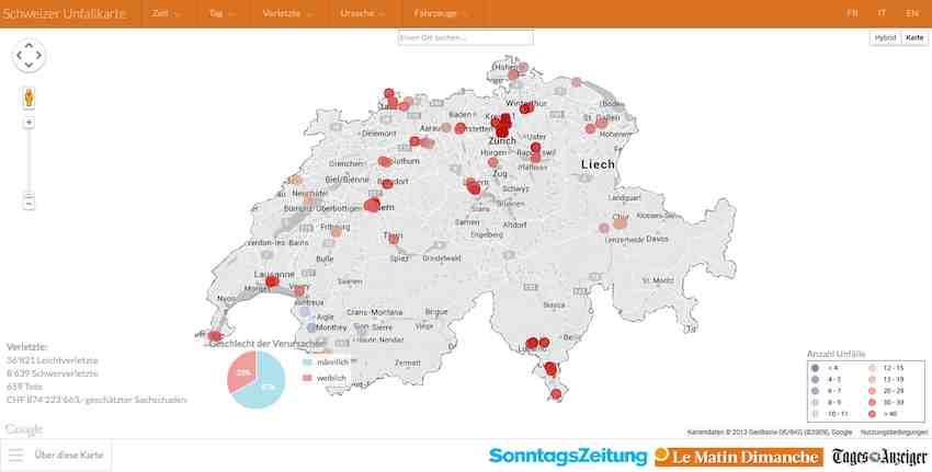 Auf einer interaktiven Unfallkarte kann man erkenne, wo die neuralgischen Punkte des schweizerischen Strassennetzes sind.