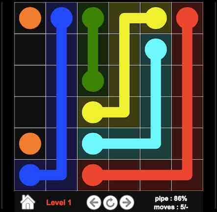 Flow Colors ist ein lustiges online Spiel, und dem Sie verschiedene Punkte mit Linien verbinden müssen. Achtung: Die Linien dürfen sich nie überkreuzen.