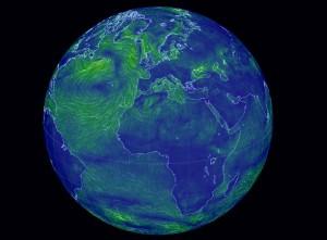 Cameron Beccario veröffentlich eine tolle globale online Windkarte mit nahezu echtzeit Daten. Winde über Europa, dem Atalntik oder dem Mittelmeer werden so erkennbar.