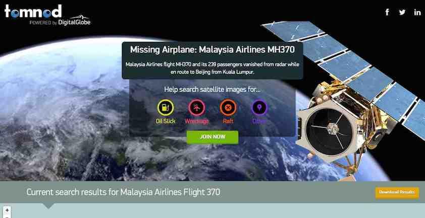 Suche nach MH370 - beteiligen Sie sich via Internet. Ein Internet Service macht es möglich.