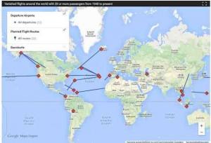 CBC Canada zeigt mit einer interaktiven Karte verschollene Flugzeuge der letzten 50 Jahre. MH370 ist bis jetzt Immer noch verschollen.