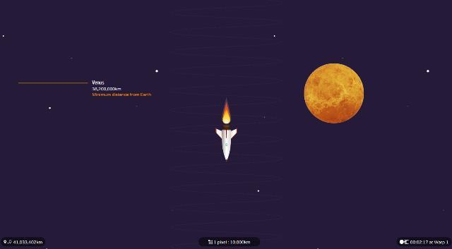 Wie gross unser Sonnensystem ist, erfahren SIe auf einer interaktiven Reise mit einer kleinen Rakete.