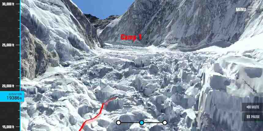 Virtuelle Besteigung des Mount Everest. Mit everestavalanchetragedy.com klettern Sie bequem auf den Mount Everest.