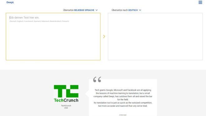 DeepL online Übersetzer