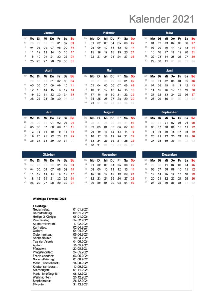 Kalender 2021 Schweiz Excel